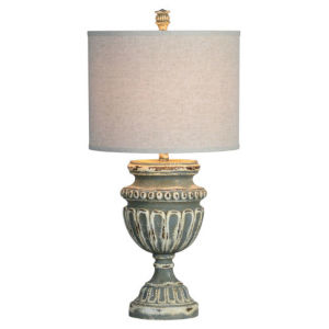 Hazel Distressed Gray and Cream One-Light Table Lamp