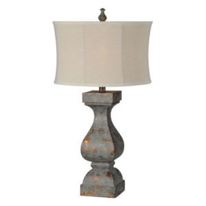 Hazel Blue Distressed and Copper One-Light Table Lamp