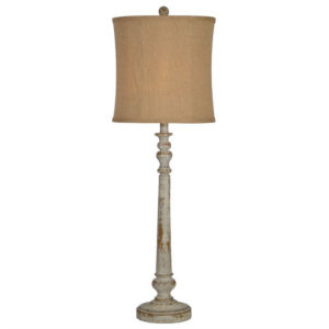 Hazel Distressed White and Gold One-Light Buffet Lamp