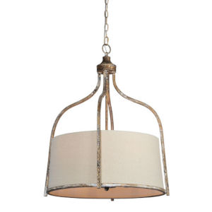Iris Beige and Silver Four-Light Pendant
