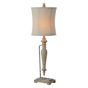 Charlotte Worn Brown and Cream Wash One-Light Table Lamp