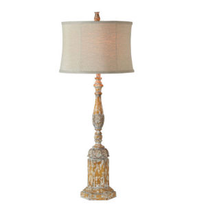 Charlotte Washed Gray and White One-Light Table Lamp