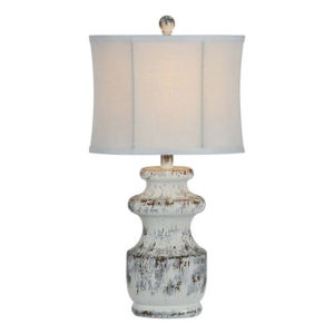 Charlotte Antique Silver and White One-Light Table Lamp