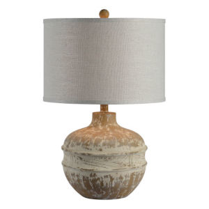 Charlotte Washed Wood and White One-Light Table Lamp