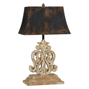 Partridge Distressed White with Gold One-Light Table Lamp