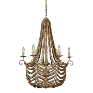 Partridge Natural Gray and Gold Six-Light Chandelier