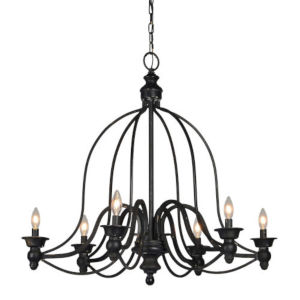Partridge Antique Black Six-Light Chandelier