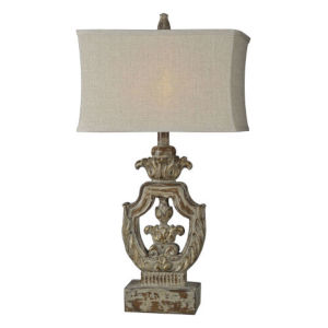 Partridge Distressed Walnut and Cream One-Light Table Lamp
