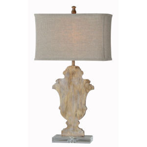 Partridge Distressed Cream and Brown One-Light Table Lamp