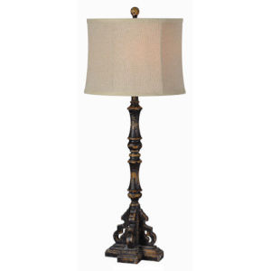 Partridge Distressed Black One-Light Buffet Lamp