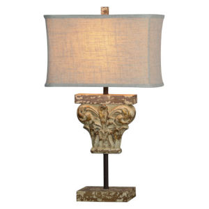 Partridge Worn Wood and Gold One-Light Table Lamp