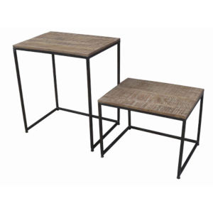 Jackson Natural and Black Nesting Table, Set of 2