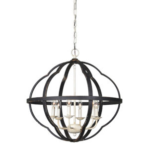 Jackson Rustic Black And Cottage White Six-Light Chandelier