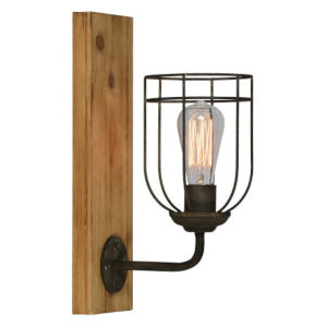 Jackson Washed Wood and Black One-Light Wall Sconce