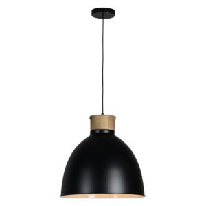 Essex Natural Wood and Black One-Light Pendant