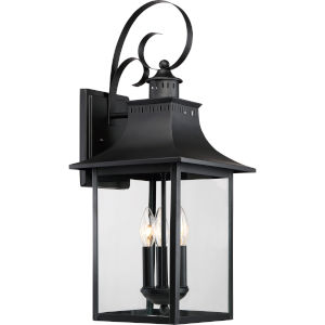 Bryant Black Three-Light Outdoor Wall Sconce with Clear Glass