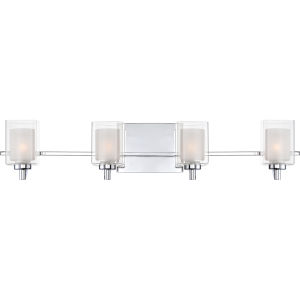Selby Polished Chrome Four-Light LED Bath Vanity with Outer Clear Glass