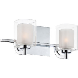 Selby Polished Chrome Two-Light LED Bath Vanity with Outer Clear Glass