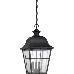 Bryant Black Three-Light Outdoor Pendant with Clear Seedy Glass