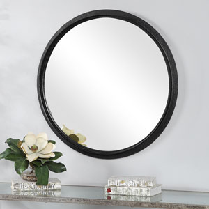 Loring Black Circular Wall Mirror