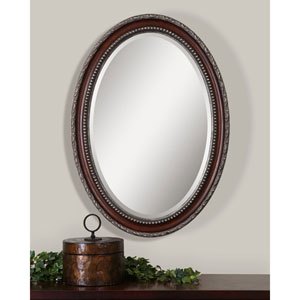 Aster Brown Oval Framed Wall Mirror