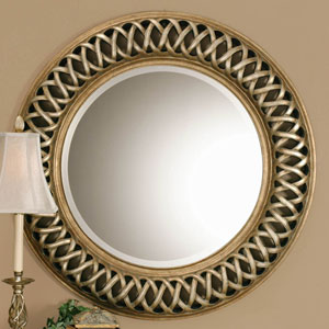 Nicollet Silver and Gold Framed Circular Wall Mirror