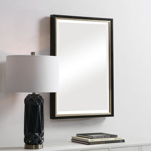Aster Black Rectangular Framed Wall Mirror