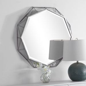 Evelyn Silver Geometric Wall Mirror