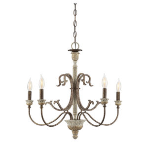 Sophia Avignon White 26-Inch Five-Light Chandelier