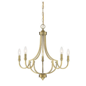 Aster Warm Brass Five-Light Chandelier