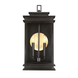 Wellington English Bronze 10-Inch Two-Light Outdoor Wall Sconce