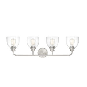 Evelyn Satin Nickel Four-Light Bath Vanity