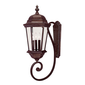 Webster Walnut Patina Three-Light Outdoor Wall Sconce
