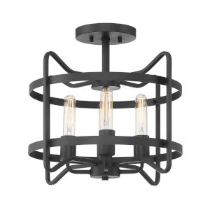 Hayes Matte Black Four-Light Semi-Flush Mount