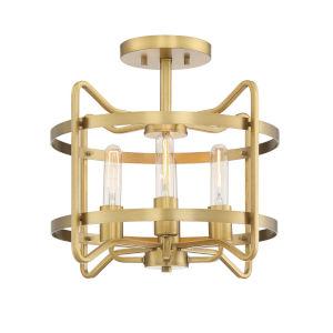Hayes Warm Brass Four-Light Semi-Flush Mount