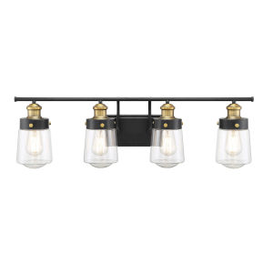 Revolution Vintage Black and Warm Brass Four-Light Bath Vanity