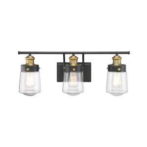 Revolution Vintage Black and Warm Brass Three-Light Bath Vanity