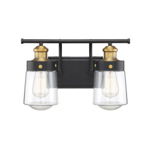 Revolution Vintage Black and Warm Brass Two-Light Bath Vanity
