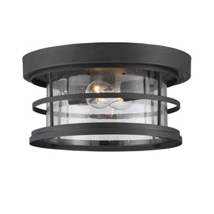 Irving Black Two-Light Outdoor Flush Mount