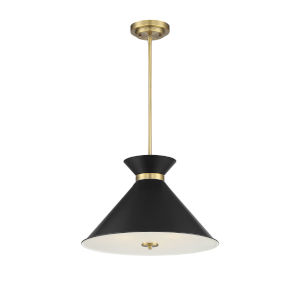 Cora Black and Warm Brass Three-Light Pendant