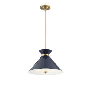 Cora Navy Blue and Brass Three-Light Pendant