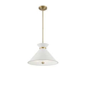 Cora White and Brass Three-Light Pendant
