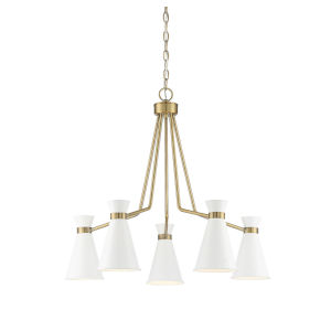 Cora White and Warm Brass Five-Light Chandelier