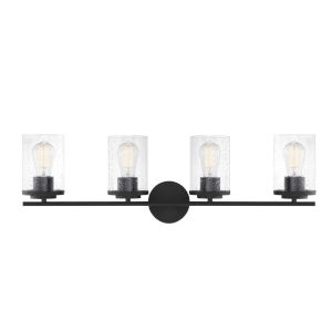 Loring Matte Black Four-Light Bath Vanity