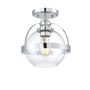 Irving Polished Chrome One-Light Semi-Flush Mount