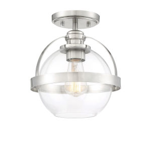 Irving Satin Nickel One-Light Semi-Flush Mount