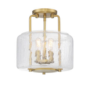 Ava Warm Brass Three-Light Semi-Flush Mount