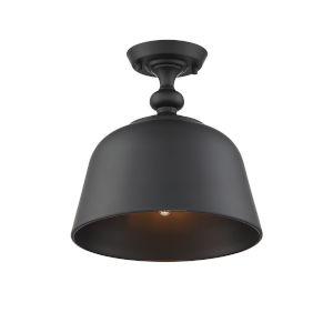 Kate Matte Black One-Light Semi-Flush Mount
