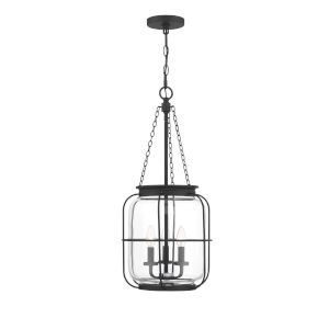 Elle Matte Black 13-Inch Three-Light Pendant