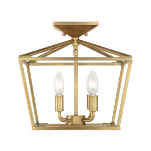 Kenwood Warm Brass Four-Light Semi-Flush Mount
